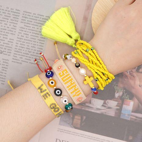 fashion natural pearl bracelet Miyuki glass rice beads woven alphabet tassel handmade jewelry wholesale nihaojewelry NHGW228703's discount tags