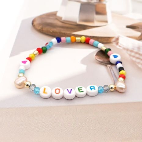 Creative Simple Enamel Color Letter Crystal Bracelet Natural Pearl Ethnic Style Handmade Jewelry wholesale nihaojewelry NHGW228704's discount tags