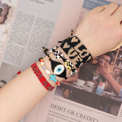 Fashion national style natural pearl shell bracelet Miyuki rice beads woven love letters handmade jewelry wholesale nihaojewelry NHGW228706's discount tags