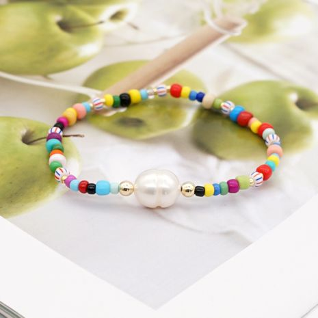 Simple Baroque Natural Pearl National Wind Color Rice Bead Bracelet Handmade Jewelry wholesale nihaojewelry NHGW228707's discount tags