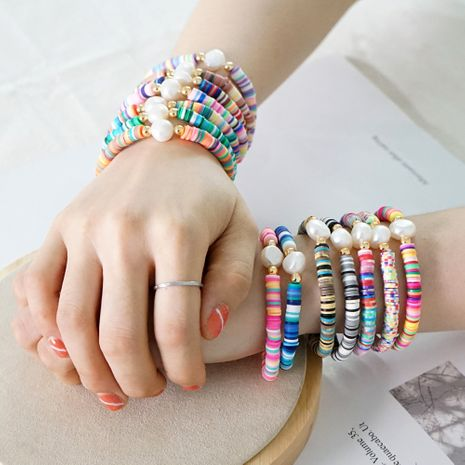 Summer European and American retro simple natural pearl bracelet female beach wind color soft clay clay handmade jewelry NHGW228716's discount tags