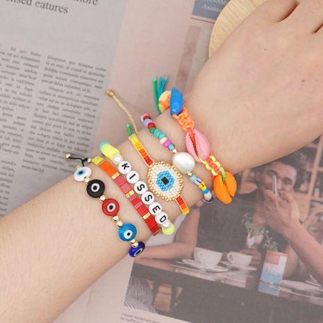 Miyuki rice beads bracelet female woven lucky eye ethnic style rainbow soft clay natural shell handmade jewelry NHGW228717's discount tags