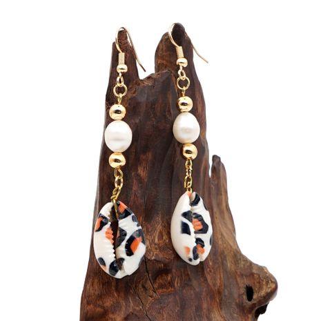 créative simple boucles d'oreilles perle mode tendance léopard coquille naturelle boucles d'oreilles longues bijoux faits à la main en gros nihaojewelry NHGW228718's discount tags