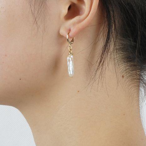 boucles d'oreilles tempérament de mode simple baroque perle naturelle rétro boucles d'oreilles sauvages en gros nihaojewelry NHGW228719's discount tags