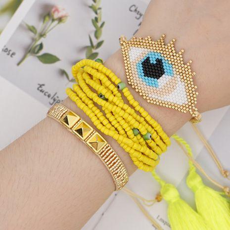 Miyuki cuentas de arroz de vidrio tejido ojos moda pulsera de borla de múltiples capas joyería hecha a mano al por mayor nihaojewelry NHGW228721's discount tags
