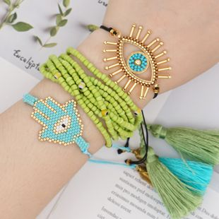 Estilo pulsera de moda Miyuki vidrio perlas de arroz tejido borla de múltiples capas joyería hecha a mano al por mayor nihaojewelry NHGW228722's discount tags