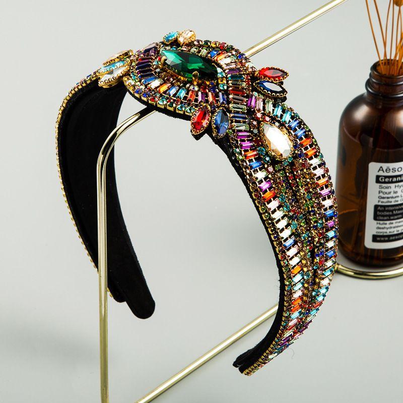 Baroque luxury ladies headband color rhinestone gem geometric personality party catwalk hair accessories headband NHLN228729