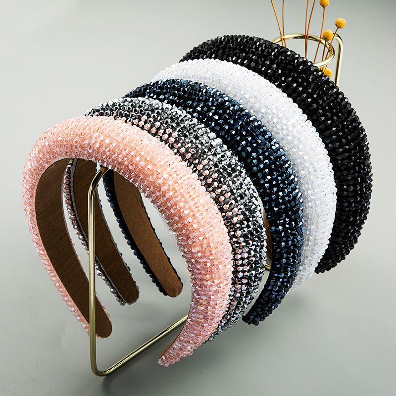 fashion handmade beaded high-end luxury sponge pink hair hoop female tide prom wide-brimmed fabric headband NHLN228734