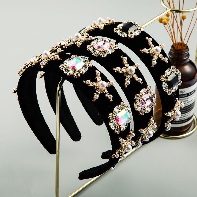fashion stars pearl hair band female gold velvet inlaid rhinestone super flash boutique hair jewelry wholesale NHLN228736