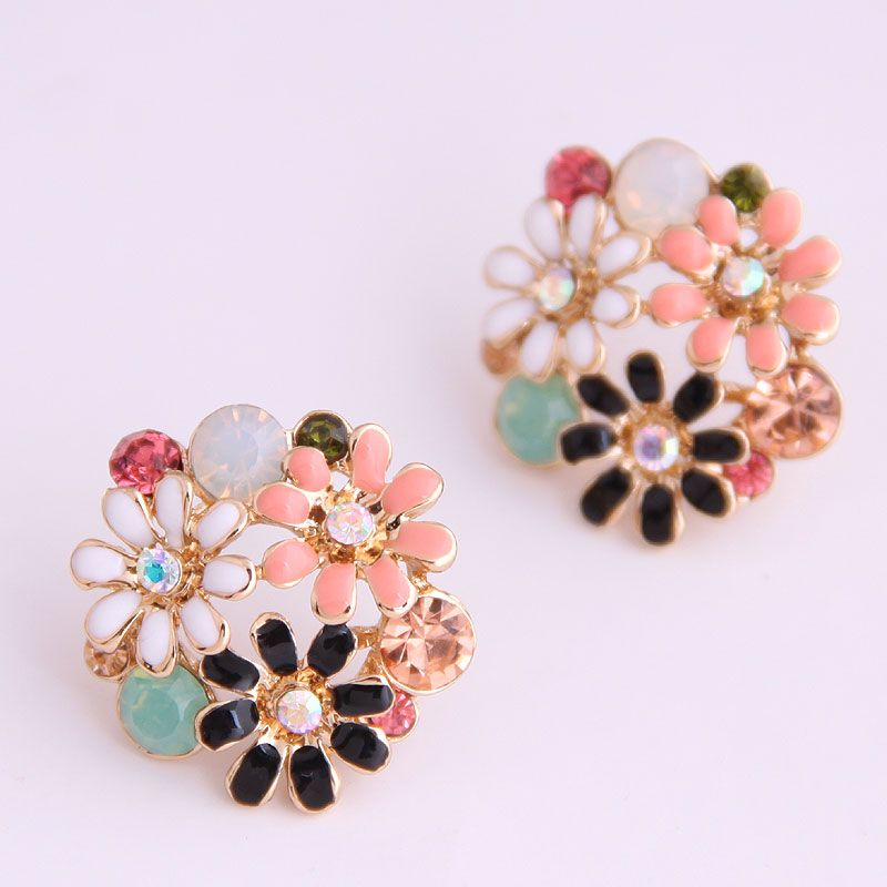 Boutique Korean fashion sweet OL garden flowers temperament earrings NHSC228756