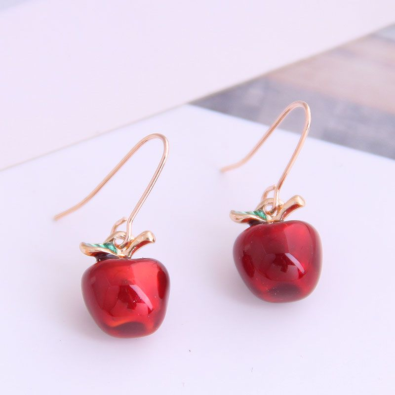 Boutique Korean fashion sweet little red apple personality earrings NHSC228754