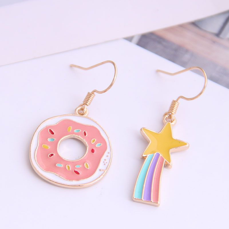 Boutique Korean fashion sweet and small cartoon asymmetrical earrings NHSC228753