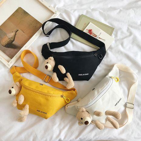 Bear canvas bag new wave cute student chest bag shoulder messenger waist bag wholesale nihaojewelry NHXC228847's discount tags