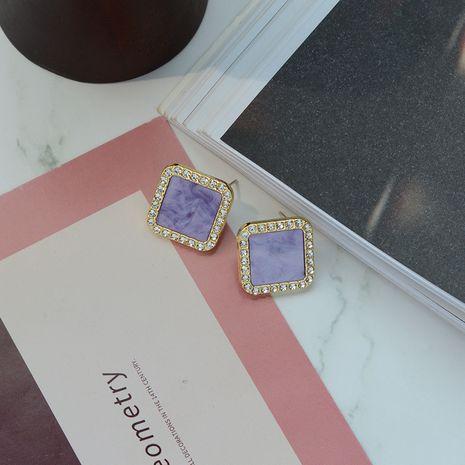nouvelles boucles d'oreilles violet bijoux populaires 925 aiguille en argent géométrique carré diamant boucles d'oreilles en gros nihaojewelry NHWF228977's discount tags