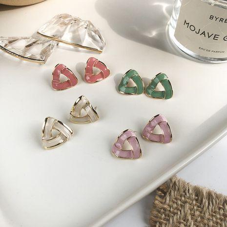 Korean popular jewelry geometric triangle color earrings French retro glaze earrings hypoallergenic wholesale nihaojewelry NHWF228981's discount tags