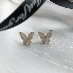 Korean fashion jewelry 925 silver needle butterfly earrings Mori glaze girl earrings wholesale nihaojewelry NHWF229000's discount tags