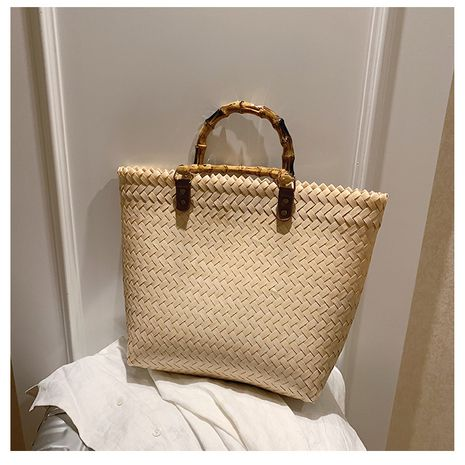 Straw bag new retro large-capacity vegetable basket woven bag handbag square bag hand bag beach bag wholesale nihaojewelry NHTC229015's discount tags