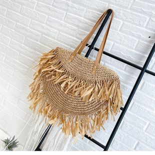 Summer straw woven large-capacity women's bags popular new trendy fashion woven shoulder bag handbag wholesale nihaojewelry NHTC229022's discount tags