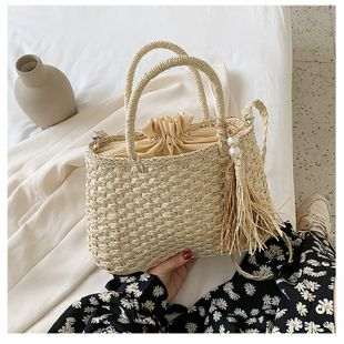 Straw bag new summer bucket bag popular handbag summer woven shoulder messenger bag wholesale nihaojewelry NHTC229027's discount tags