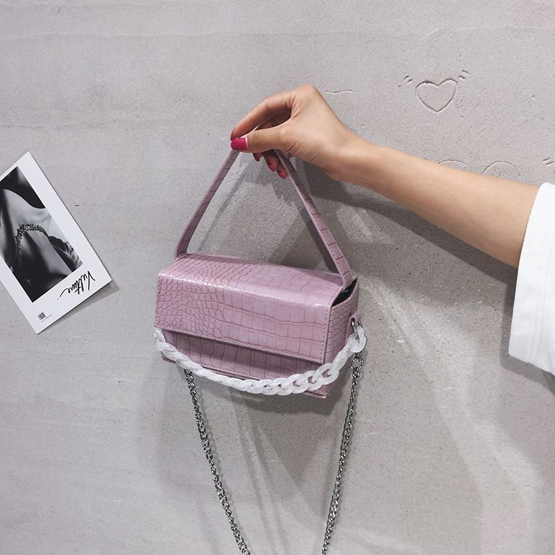 popular new Korean crocodile pattern bag fashion broadband shoulder messenger small square bag wholesale nihaojewelry NHTC229034