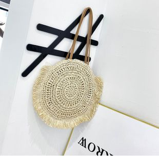 Summer woven big bag new fashion large capacity shoulder bag pumping handbag wholesale nihaojewelry NHTC229064's discount tags