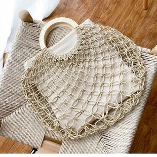 Straw woven bag retro large-capacity vegetable basket handbag new square bag hand bag beach bag wholesale nihaojewelry NHTC229080's discount tags