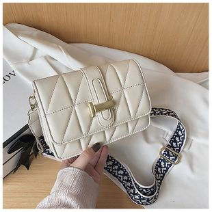 The new bag new wave Korean rhombic embroidery thread shoulder slung fashion wide shoulder strap small square bag wholesale nihaojewelry NHTC229095's discount tags