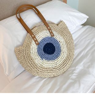 Bag women's bag large capacity summer new trendy shoulder bag fashion straw bag wholesale nihaojewelry NHTC229098's discount tags