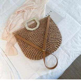 new straw bag fashion simple woven bag shoulder messenger portable basket bag wholesale nihaojewelry NHTC229099's discount tags