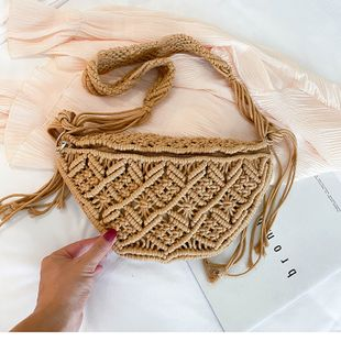 woven bag straw bag summer flow single shoulder portable crossbody bag beach bag wholesale nihaojewelry NHTC229101's discount tags