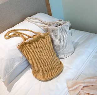 new trendy woven fashion popular messenger bag bucket bag summer small bag wholesale nihaojewelry NHTC229105's discount tags