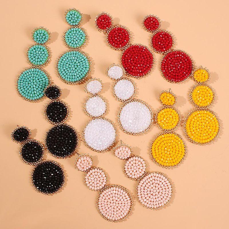 New earrings fashion earrings ethnic style creative handmade rice beads geometric earrings NHMD175888