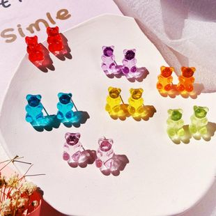 New jelly bear candy color earrings creative retro simple solid color earrings for women wholesale NHPJ208918's discount tags