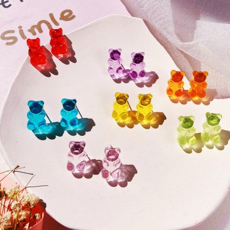 Nouvelle gelée ours boucles d'oreilles couleur bonbon créative rétro simple boucles d'oreilles couleur unie pour les femmes en gros NHPJ208918's discount tags