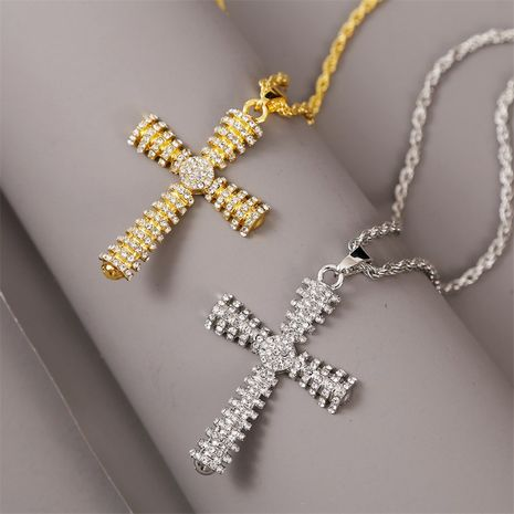 Creative hip hop cross necklace exaggerated pendant jewelry wholesale nihaojewelry NHLA229146's discount tags