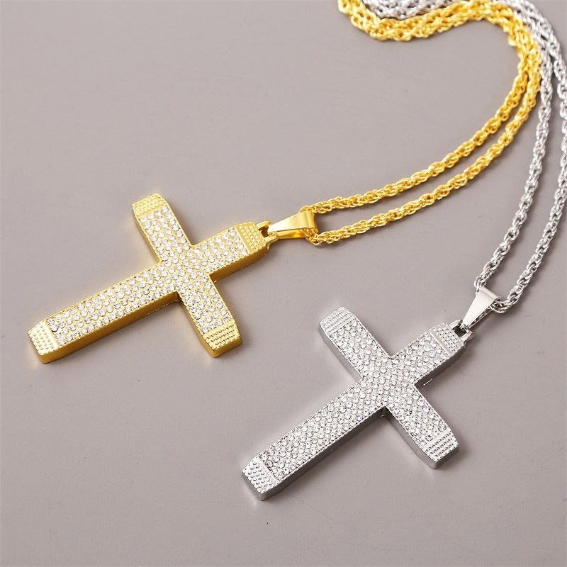 simple cross hip hop necklace mens trend creative long paragraph exaggerated pendant jewelry wholesale nihaojewelry NHLA229148