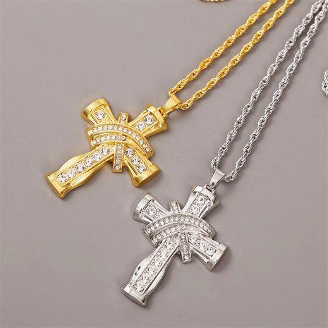 exaggerated rhinestone geometric hip hop cross necklace creative long pendant jewelry wholesale nihaojewelry NHLA229147's discount tags