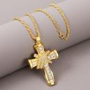 exaggerated rhinestone geometric hip hop cross necklace creative long pendant jewelry wholesale nihaojewelry NHLA229147