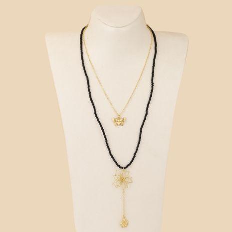 Bohème fleur longues perles de riz deux colliers multicouches mode papillon fait main pendentif bijoux en gros nihaojewelry NHLA229152's discount tags