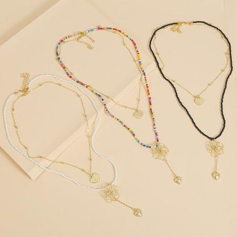 Longue fleur Bohème collier multicouche créative à la main deux costume pendentif bijoux en gros nihaojewelry NHLA229153's discount tags
