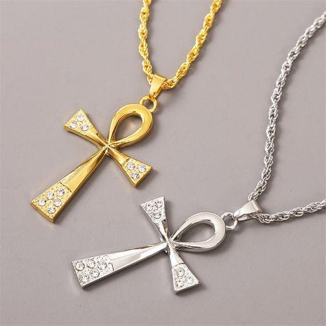 trend long rhinestone cross necklace Korean creative wild ladies pendant jewelry wholesale nihaojewelry NHLA229154's discount tags