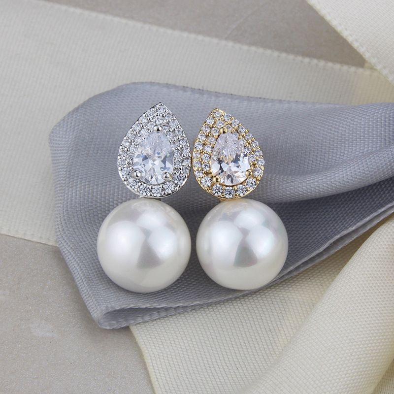 copper plating dropshaped pearl earrings simple fashion earrings jewelry wholesale nihaojewelry NHBP229163