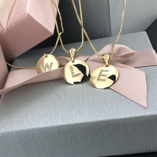 hot saling smooth diamond 26 letter necklace simple zircon English curved pendant wholesale nihaojewelry NHBP229166's discount tags
