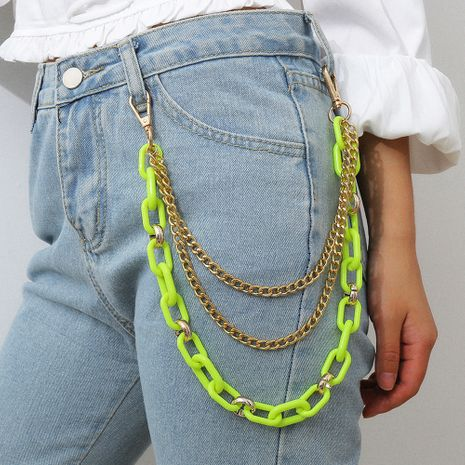 jewelry multi-layer handmade body chain punk metal cross fluorescent color chain waist chain wholesale nihaojewelry NHXR229168's discount tags