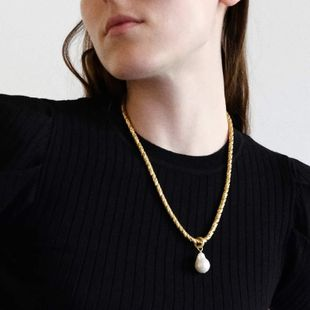 simple pearl pendant necklace frosty long street shooting popular accessories wholesale nihaojewelry NHJQ229192's discount tags