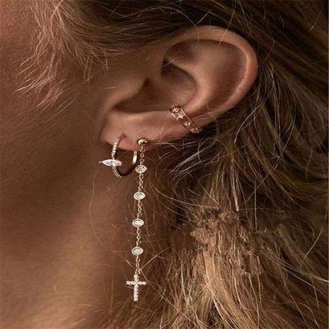 Coréen croix-set diamant super flash boucles d'oreilles rue créative longues boucles d'oreilles diamant blanc ensemble en gros nihaojewelry NHJQ229196's discount tags