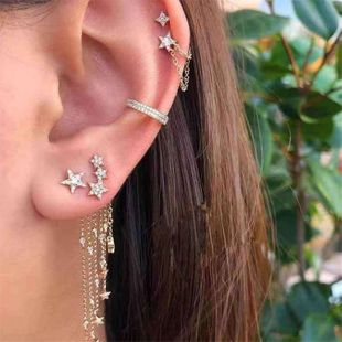 fashion five-pointed star tassel diamond earrings white diamond star earrings set wholesale nihaojewelry NHJQ229197's discount tags