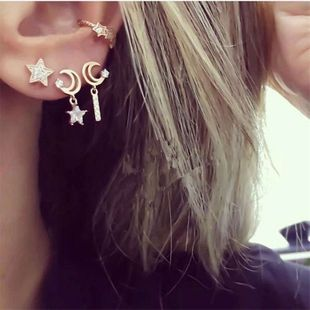fashion diamond star moon earrings meniscus long ear clip moon boat set earrings wholesale nihaojewelry NHJQ229198's discount tags
