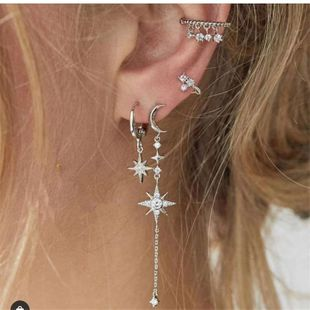 starfish crescent love earrings retro octagonal tassel earrings ear clip popular earring set wholesale nihaojewelry NHJQ229201's discount tags