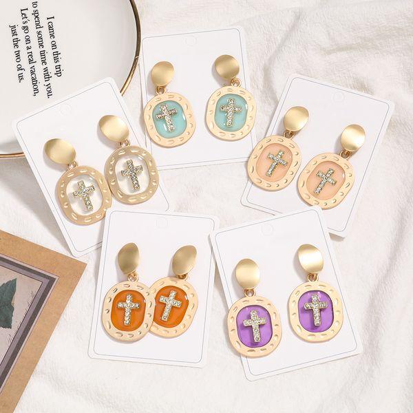 new oval alloy resin diamond cross earrings wholesale nihaojewelry NHJE229204